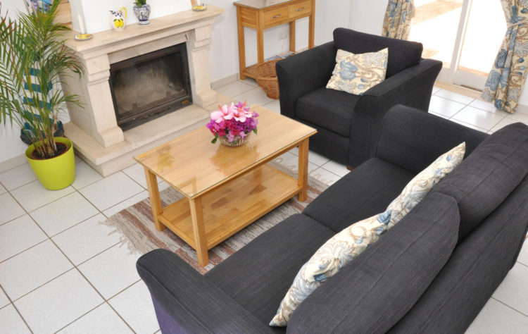 The living room is spacious having a sofa, an arm chair, a coffee table and a fireplace for winter use.