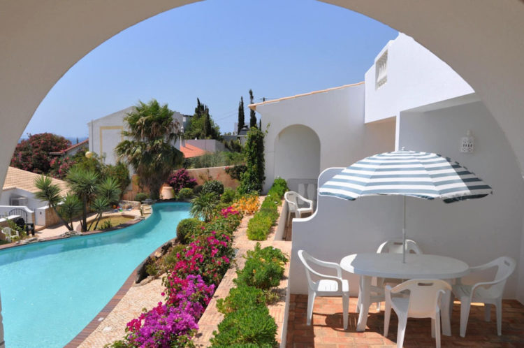 The two bedroom apartments at Ocean Villas Luz have a large terrace and views to the swimming pool and the sea